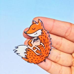 Fox and sloth brooch
